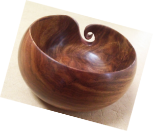 Wooden-Yarn-Bowl-Handcrafted-Brown-Smooth-High-Gloss-For-Knitting-And-Crochet
