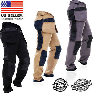 Mens-WorkWear-Trousers-Cargo-Combat-Cordura-Knee-Reinforcement-Utility-Work-Pant