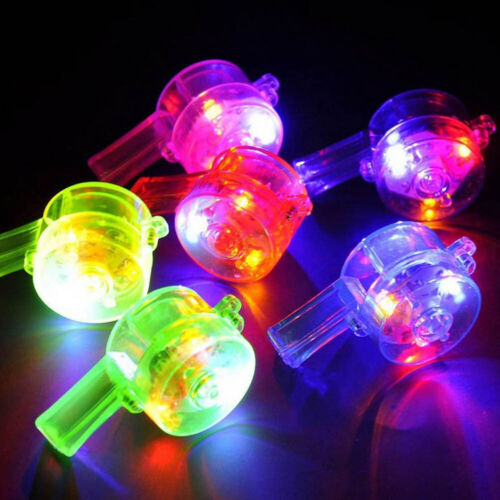 1Pc LED Glowing Colorful Pendant Whistle Lanyard Kids Toy Party Concert Favor