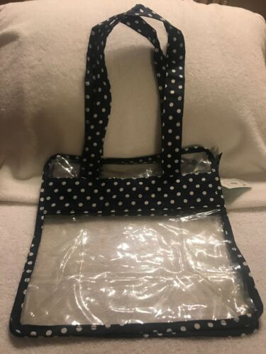 Iota Chick Blue Polkadot CLEAR VINYL BAG New With Tags