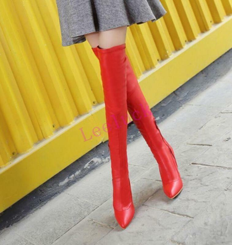 NEW Donna Riding Thigh Over Knee Thigh Riding Stivali Stilettos High Heels Pointed Toe Shoes f498f0