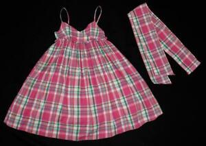 379e7d2d3 RALPH LAUREN Girls Pink Plaid Ruffle Tank Dress Sash Bow V-Neck ...