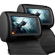 "9"" Black Leather-Style Car DVD Headrests HD Touch-Screen SD/USB/Headphones/FM/IR"