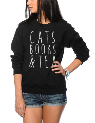 Cats Books and Tea Cute Tumblr Hipster Youth /& Womens Sweatshirt