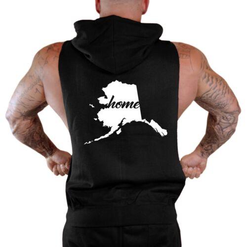 Men/'s Home Alaska Map Black Sleeveless Zipper Hoodie Workout State Town Ak V340