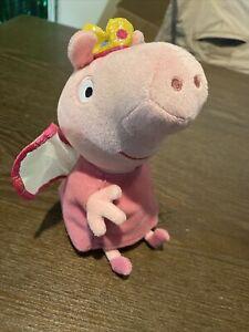 "Ty Peppa Pig Princess Peppa 8"" Plush Stuffed Toy Fairy Wings Crown Beanie Baby"