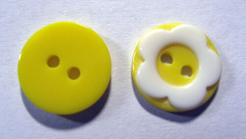 10 x White /& Lemon Yellow Flat Back 2-Hole Round FLOWER Buttons 12mm Wide FB8D