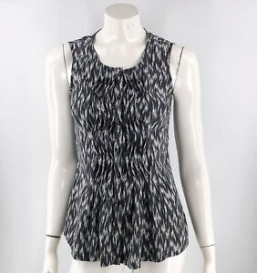 Pendleton-Womens-Top-Size-4-Black-White-Silk-Pintuck-Button-Up-Sleeveless-Blouse