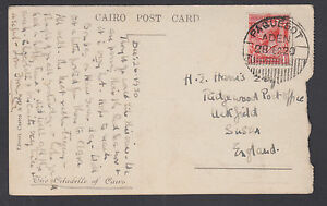 """Great Britain Sc 160 on 1920 Paquebot PPC, Aden to Sussex, """"The Cairo Citadelle"""""""