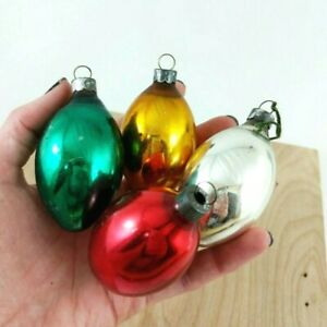 Details About Vintage Christmas Ornaments Set Of 4 Long Oval Egg Shaped Made In Usa Retro