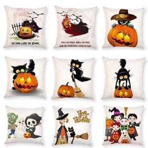 Am-Black-Cat-Pumpkin-Witch-Linen-Pillow-Case-Cushion-Cover-Home-Decor-Healthy