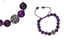 Purple Agate Shamballa Bracelet with Pavé Bead Accent