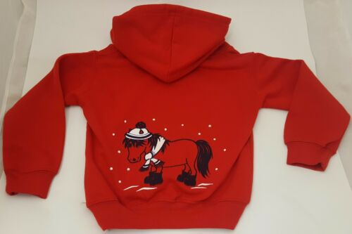 British Country Collection Red Printed Snow Pony Hoodie Sizes 3-8 Years