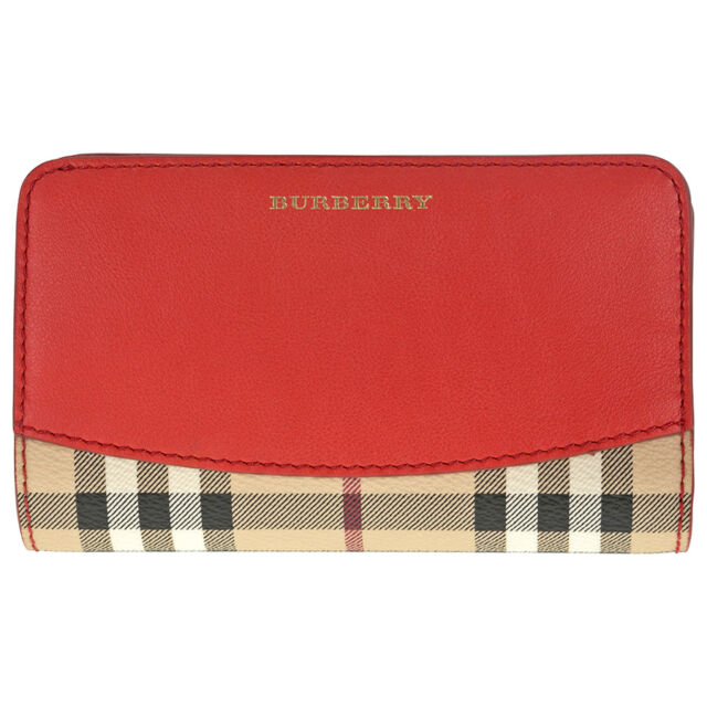 Burberry Cowley Haymarket Check Coated Canvas Red Leather Continental Wallet