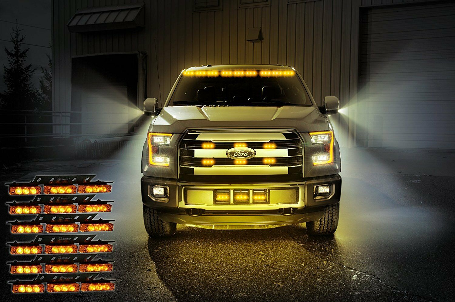 Strobe Lights For Trucks >> Zone Tech 54 Led Amber Emergency Warning Strobe Lights Bars Car Dash