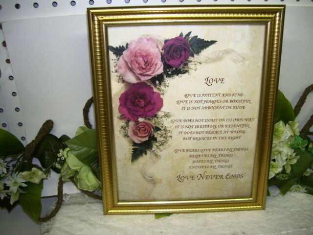 FRAMED PRINT LOVE IS PATIENT AND KIND....VERSES W/ PINK ROSES