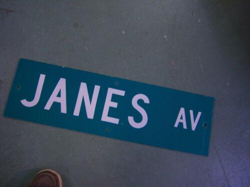"""Vintage ORIGINAL JANES AV STREET SIGN 30/"""" X 9/"""" WHITE LETTERING ON GREEN"""