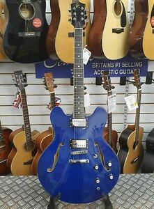 Ryder-Semi-Hollowbody-Electric-Guitar-Blue-335-Dot-ideal-for-beginners