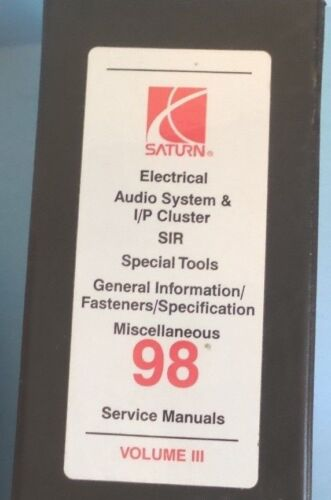 1998 Saturn service manual Binder Set Volume 3