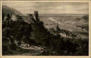 Heidelberg-alte-Ansichtskarte-1925-gelaufen-Panorama-mit-Blick-auf-Schloss-Neckar
