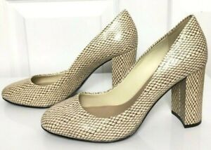 m/&s leather leopard print high heel court shoes size 6 wide fit brand new tag