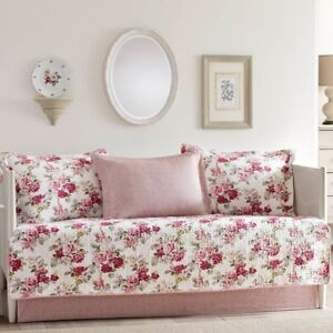 Daybed-Cover-Set-5-Pieces-Cotton-Red-Flower-Bed-Bedding-Decor-Flowers-Gift-New