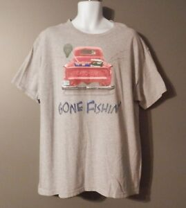 MENS-GONE-FISHING-T-SHIRT-SIZE-XL-OLD-PICKUP-TRUCK