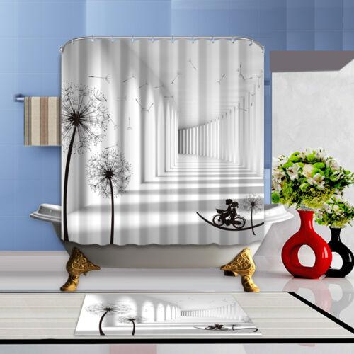 72inch Waterproof Fabric Bathroom Mat Shower Curtain Home Decor Set Long Road