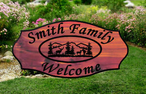 Custom-Carved-Cabin-Wood-Sign-Rustic-Plaque-Redwood-or-Aromatic-Cedar