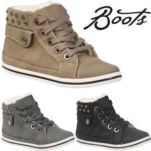 Ninos-Chicos-Chicas-Piel-Sintetica-Invierno-Calida-Con-Cordones-Botas-al-Tobillo-Zapatillas-Zapatos