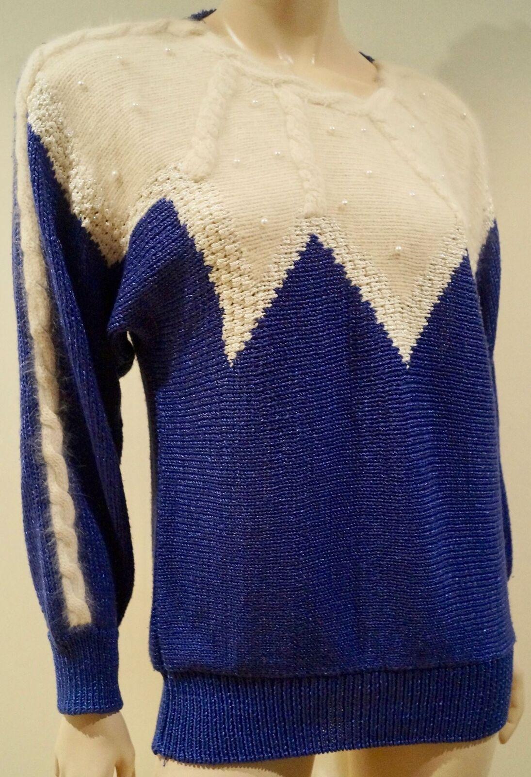 TED LAPIDUS Paris blu Metallic & Cream Pearl Dettaglio Lavorato a Maglia Maglione Pullover Top