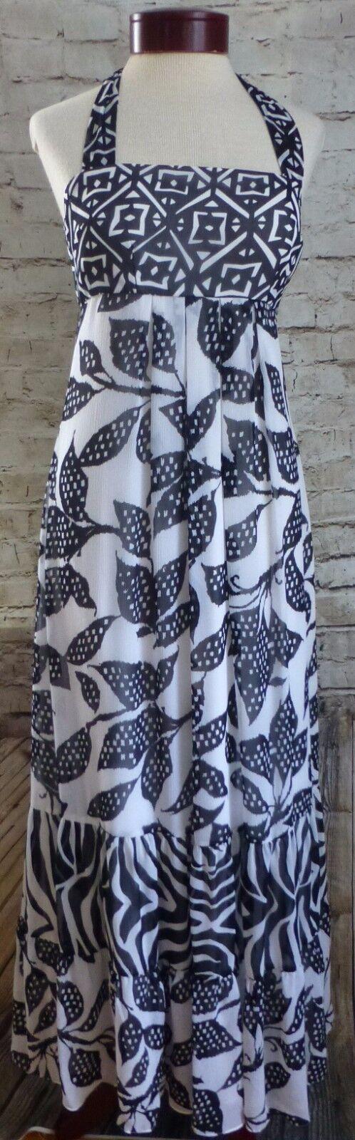 Weiß House schwarz Market Floral Ruffled Woherren Long Dress Größe 4 Halter