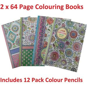 2-x-64-Pg-Colour-Your-Days-Adult-Colouring-Book-12-Pk-Pencils-Relaxing-Fun