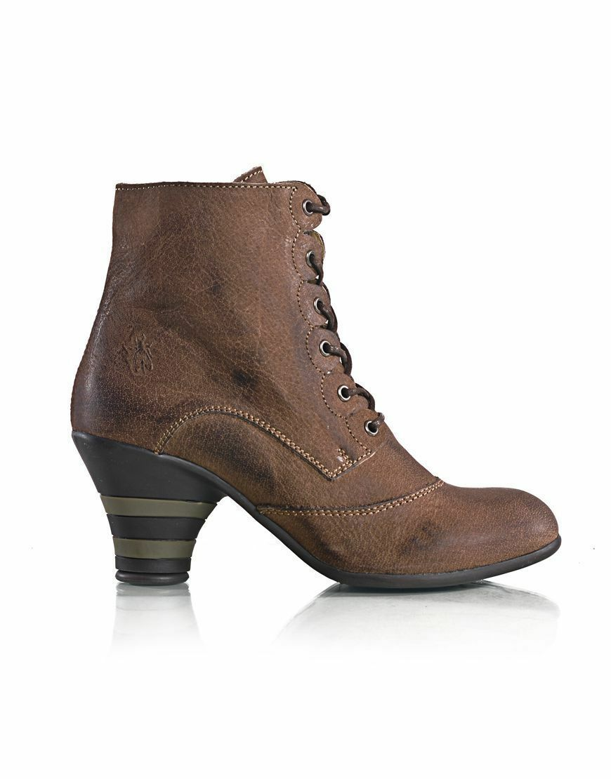 FLY LONDON 'PIMMS' KHAKI NUBUCK LEATHER LACE UP ANKLE BOOTS UK 4 EUR 37