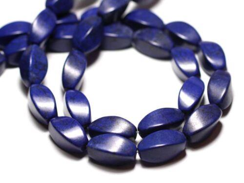 Perles Turquoise Synthèse reconstituée Olives Torsadées Twist 18mm Bleu n 10pc