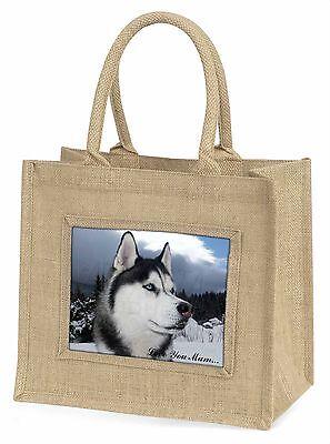 Sibirischer Husky 'Liebe, die Sie Mama' Große Natürliche Jute-einkaufstasche