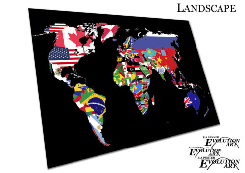 X1616 Map of the world countries made from nation flags print Poster