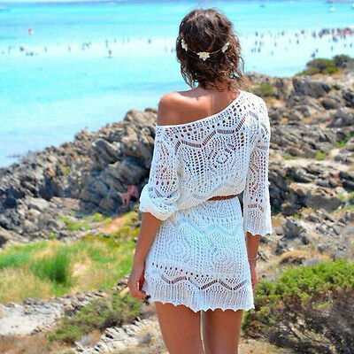 Sexy Women Hollow Out White Lace Dress Beach Party Dresses With Belt Pop