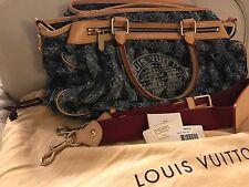 Authentic Louis Vuitton Monogram Denim Porte Epaule Cruise Cabas Raye