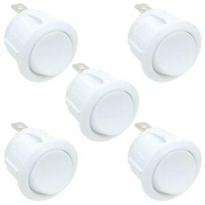 White On-Off Round Circular Rocker Switch SPST 6A