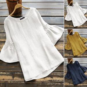 Mode-Femme-Manche-a-volants-Casual-en-vrac-Col-Rond-Loose-Shirt-Tops-Haut-Plus