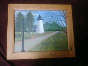 Folk Art Primitive Oil Acrylic Painting Concord Point Lighthouse Vintage Lndscpe