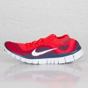 91b84c9dd174 New Mens Nike Flyknit Free 5.0 Bright Crimson White Gym Red Size ...