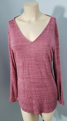 Women/'s M NWT LOFT Pink Space-Dye Bell Sleeve Double V-Neck Sweater Tee