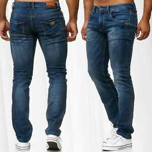 Herren-Jeans-Slim-Fit-Hose-Denim-Stonewashed-Blue-Jeans-Waschung