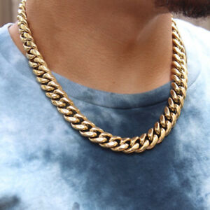 14k Gold Electro Plated Thick Heavy Men S Gold Cuban Link Chain