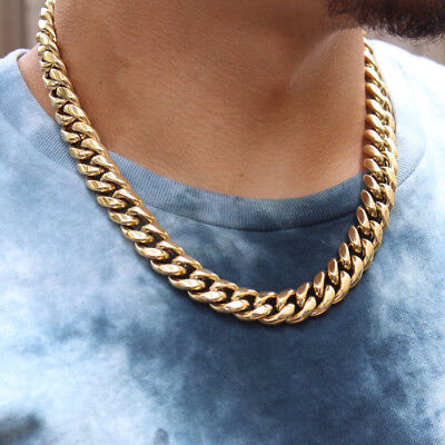 High Quality Yellow Gold 316 Stainless Steel Cuban Link Chain Necklace