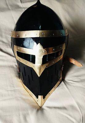 18GA Medieval Great//Templar//Crusader Knight Helmet Halloween Costume Replia
