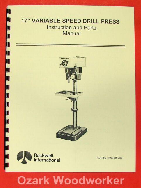 "ROCKWELL//DELTA 17/"" Variable Speed Drill Press Manual 0627"
