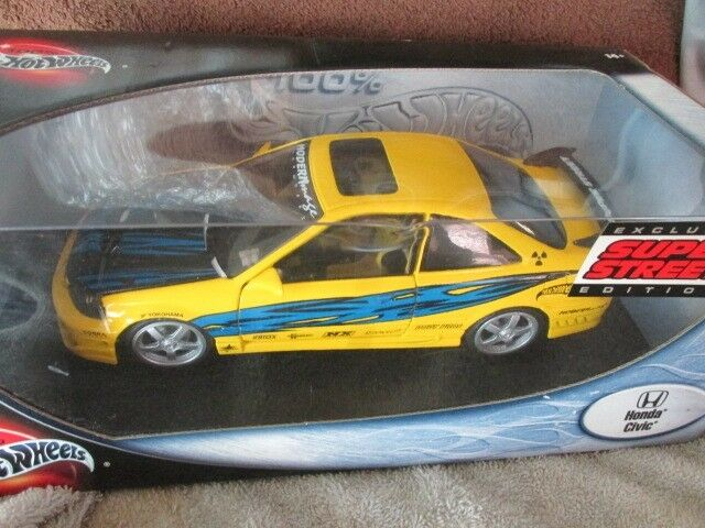 HONDA CIVIC custom YELLOW Import Racer 100% hotwheels 1 18 SUPER STREET tuners